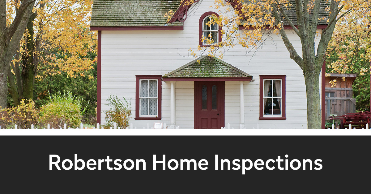 Stock photo of a cottage-like house in the fall with a rectangle below and Robertson Home Inspections