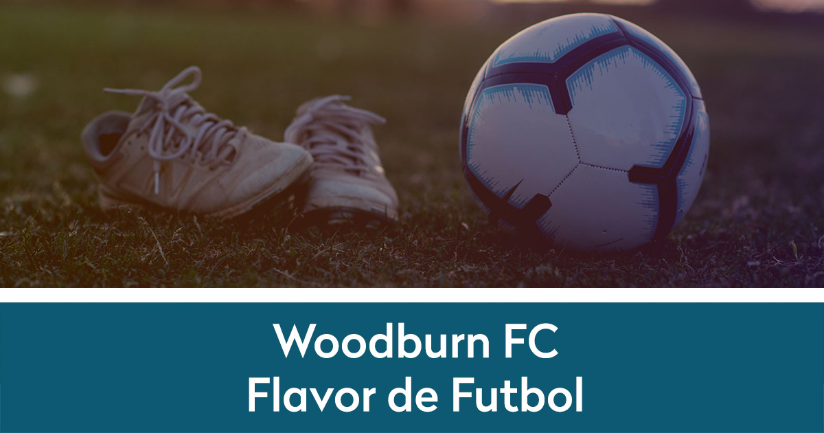 Soccer cleats and soccer ball with Flavor de Futbol below on color stripe | website portfolio item for Lewis Media Group