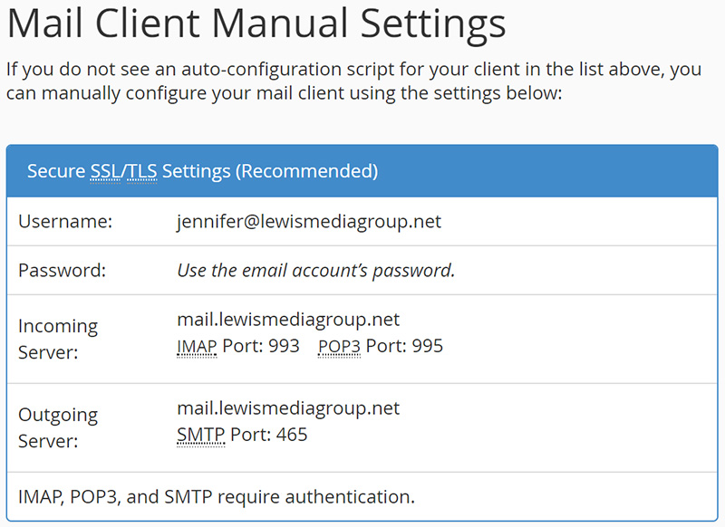 manual mail client settings - email setup