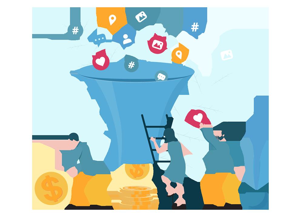 Sales Funnel Vector Illustration