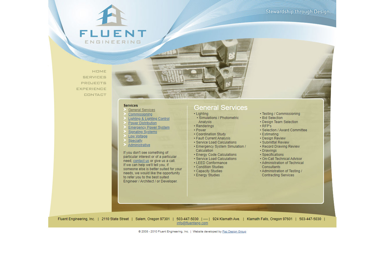 Fluent Engineering Services page Screenshot before redesign work