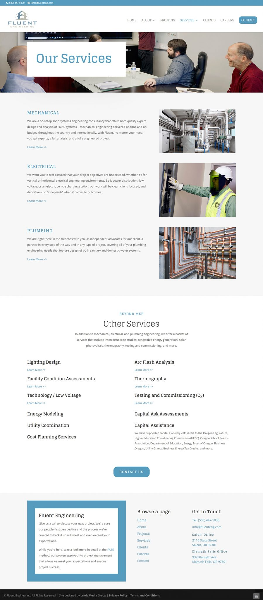 Fluent Engineering Services page screenshot after redesign work
