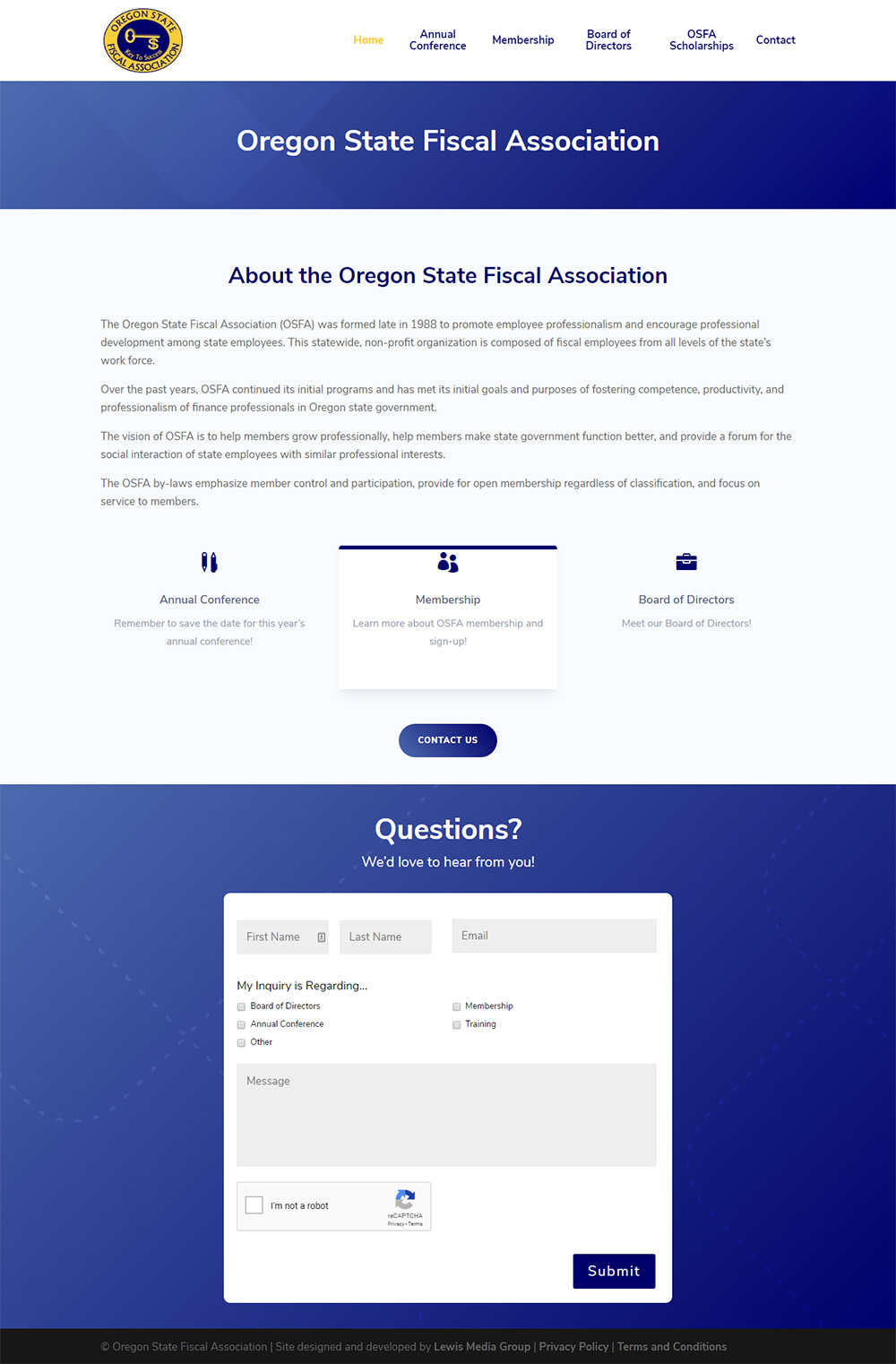 New Homepage for Oregon State Fiscal Association