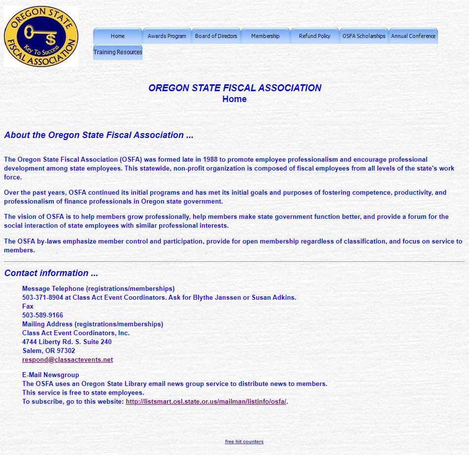 Old Homepage for Oregon State Fiscal Association