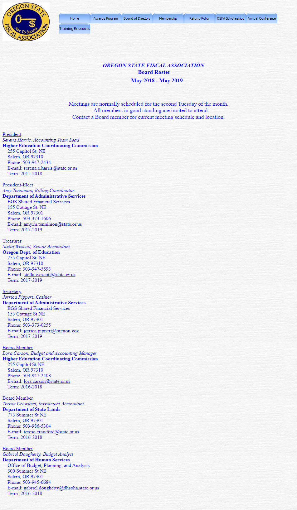 Old Board of Directors Page for Oregon State Fiscal Association