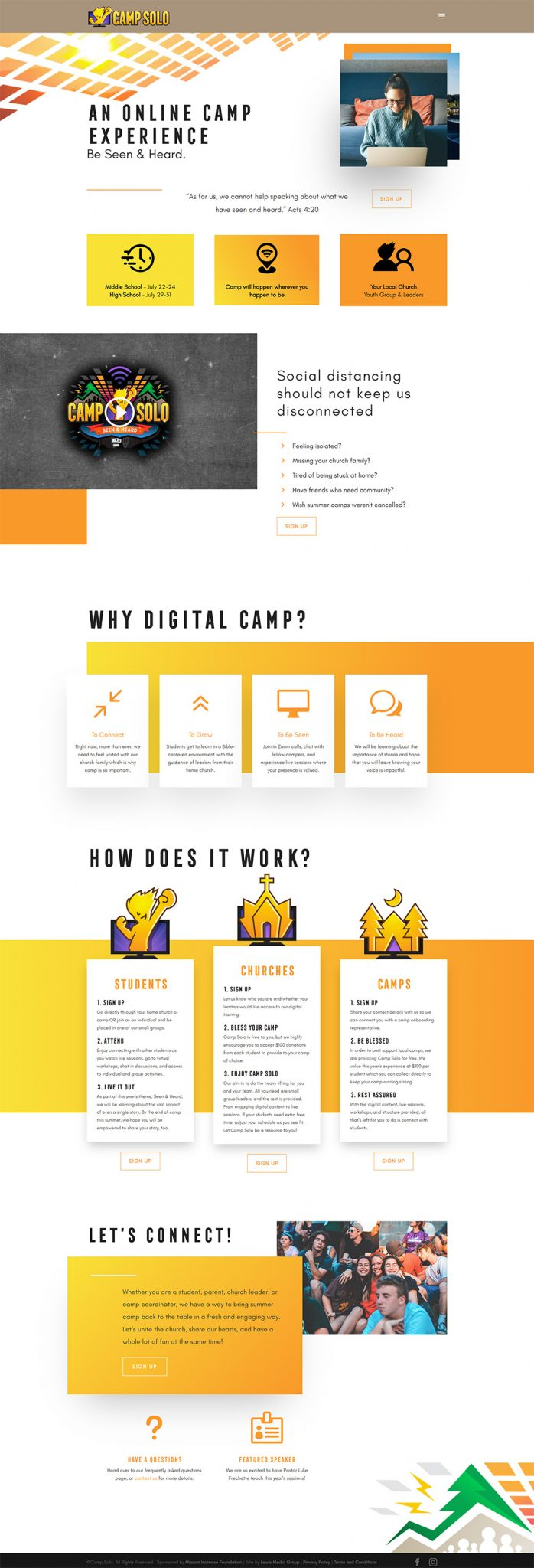 Camp Solo Home page after design
