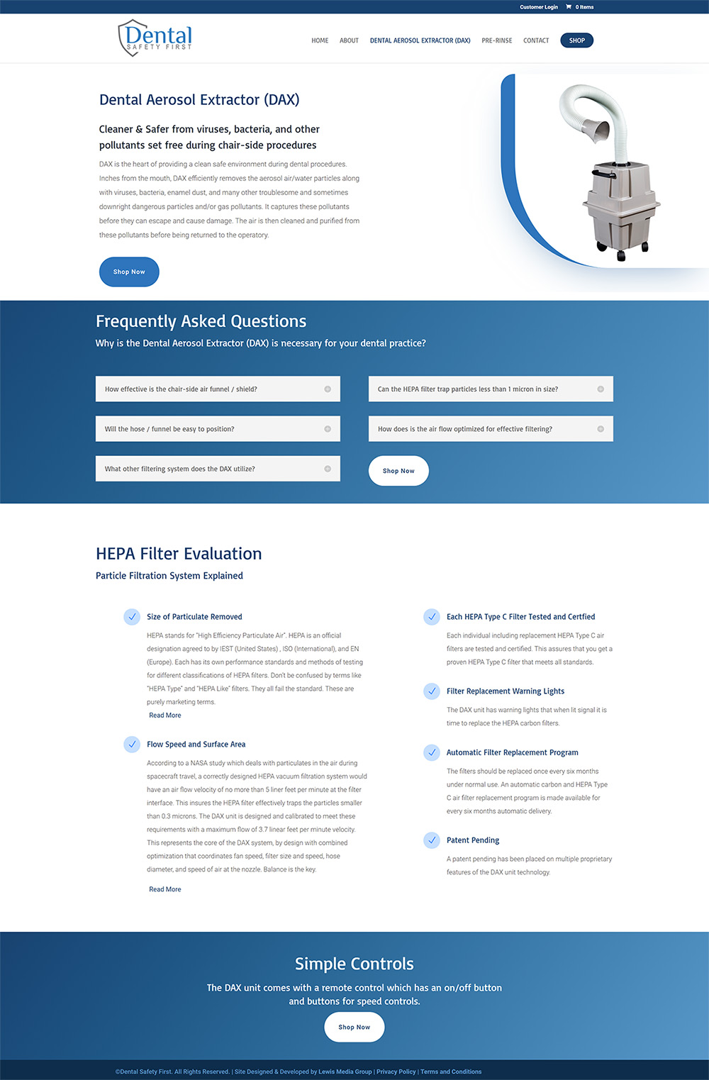 Dental Safety First DAX page after design