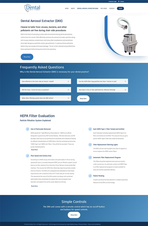 Dental Safety First DAX page after design