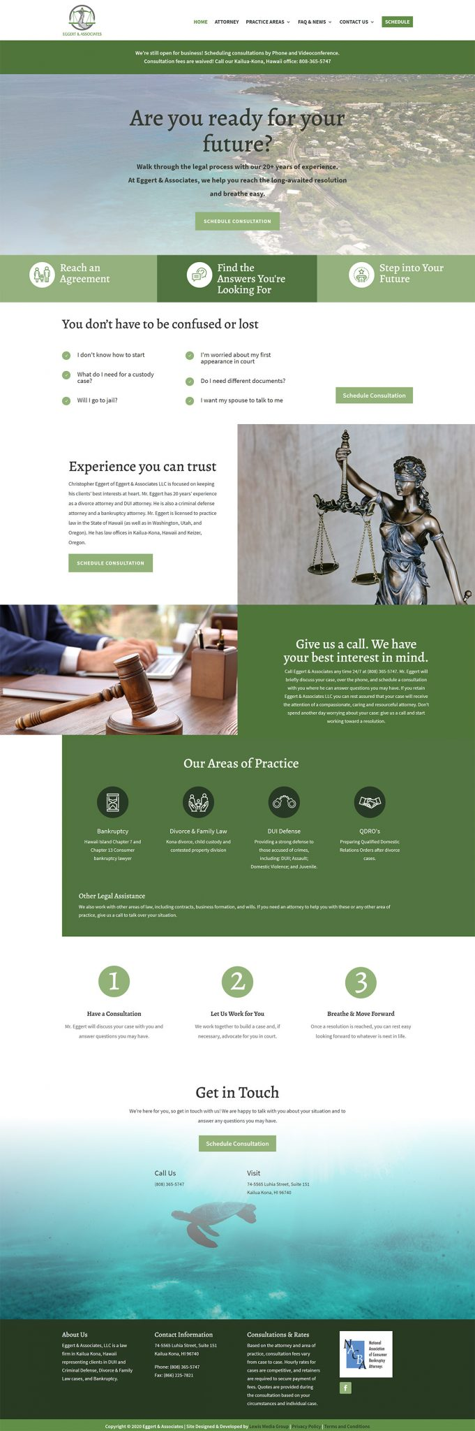 Eggert & Associates Kona Home page after redesign