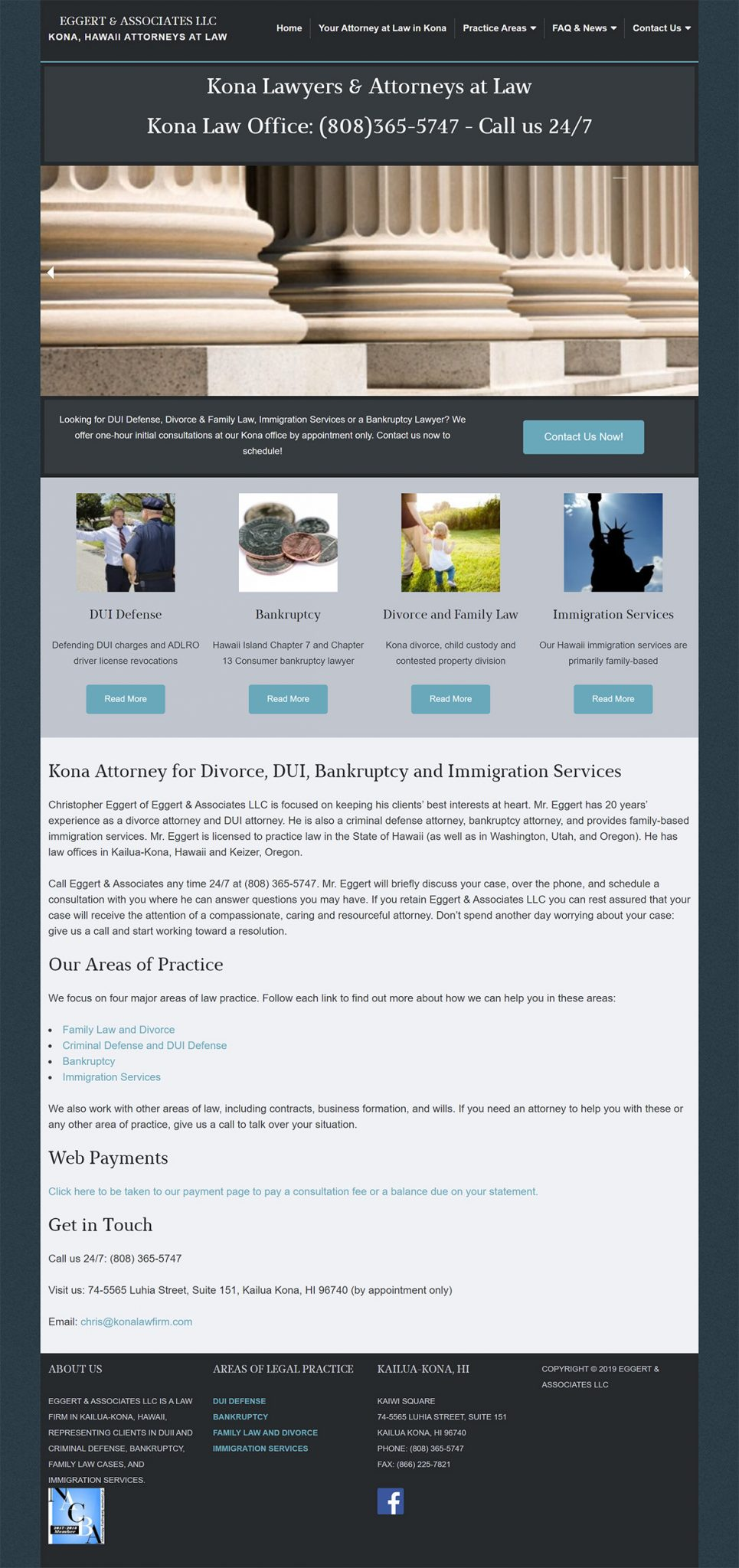 Eggert & Associates Kona Home page before redesign