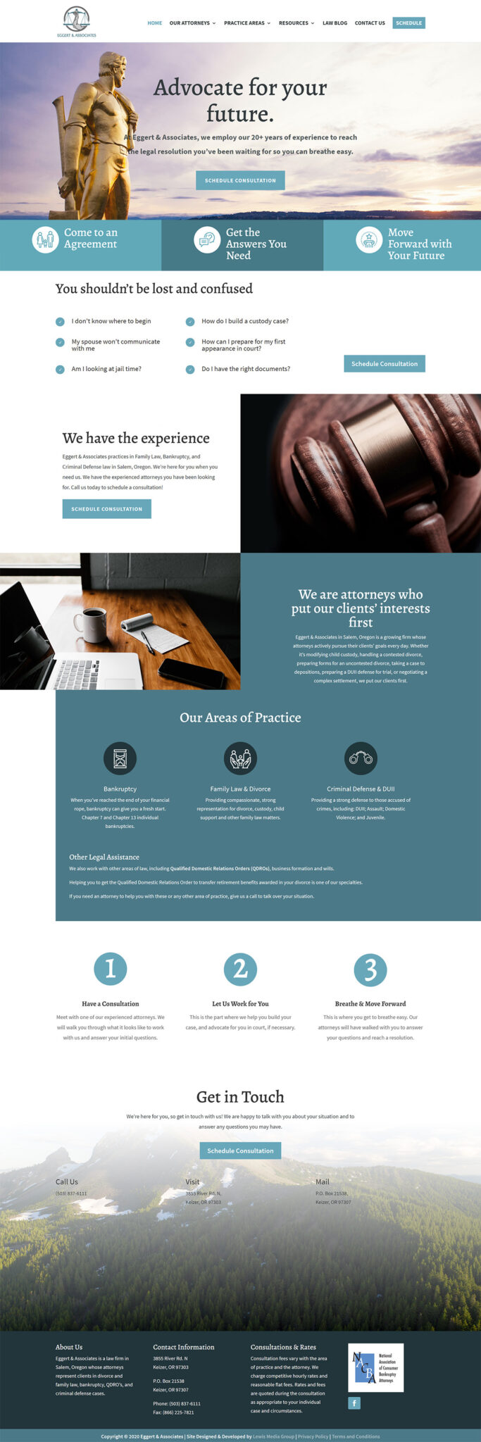 Eggert & Associates Home page after redesign