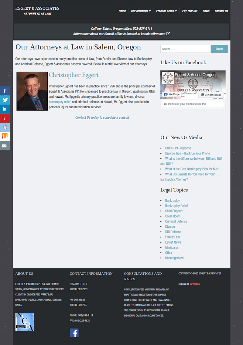 Eggert & Associates Attorneys page before redesign