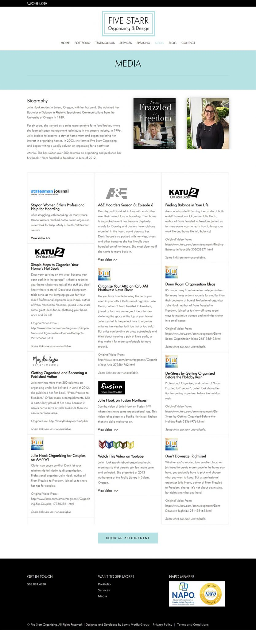 Five Starr Organizing & Design media page after redesign