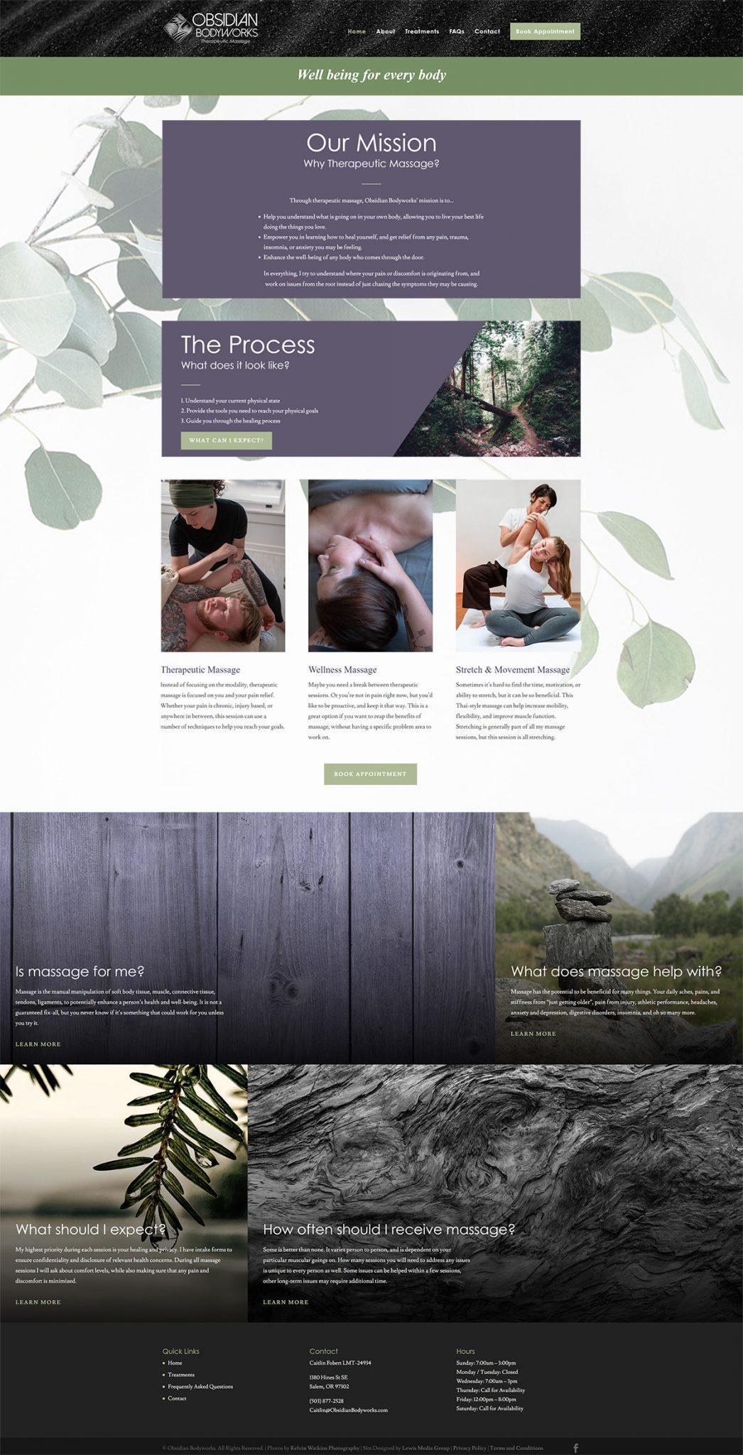 screenshot of Obsidian Bodyworks homepage