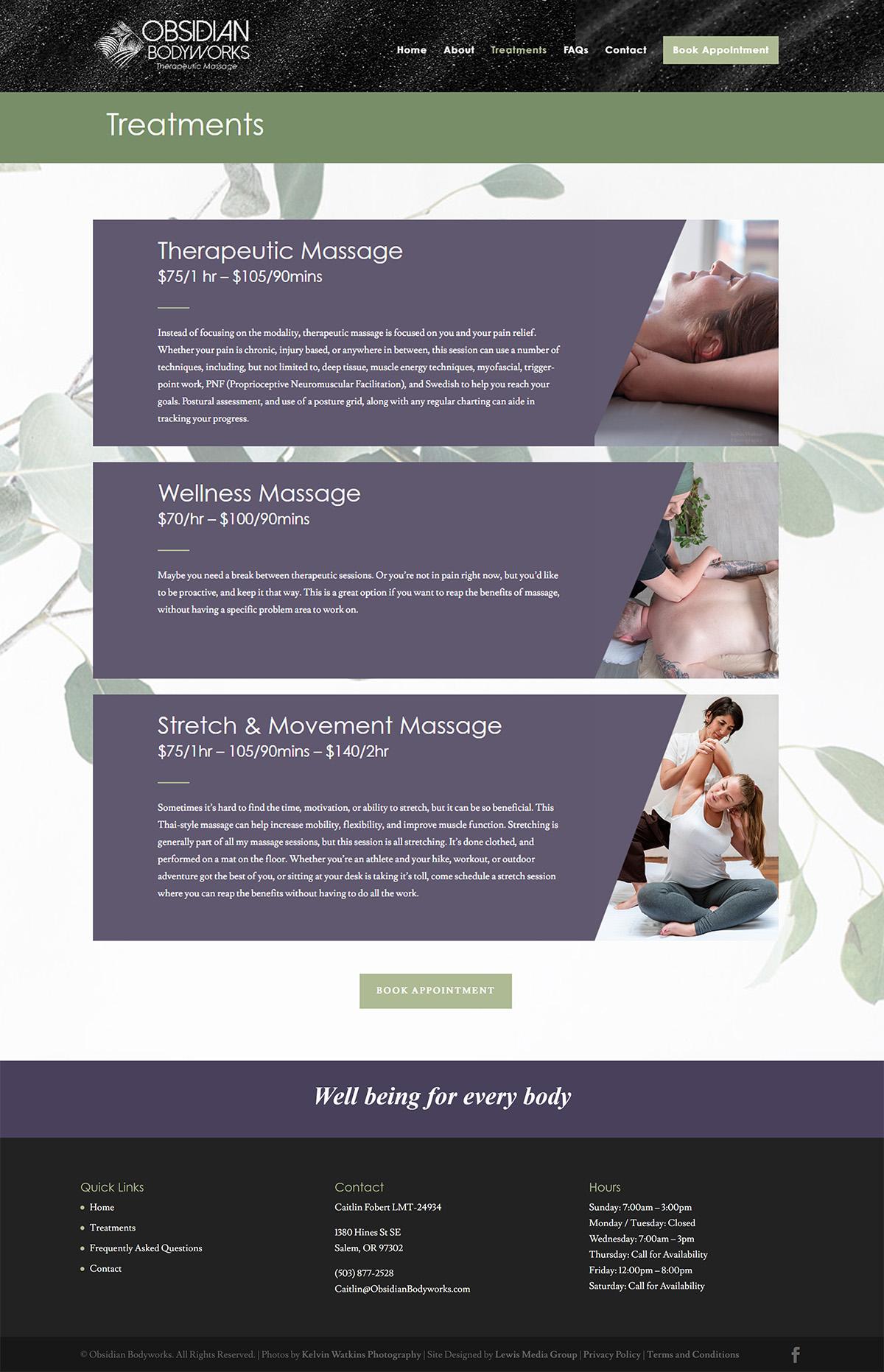 Screenshot of Obsidian Bodyworks treatments page