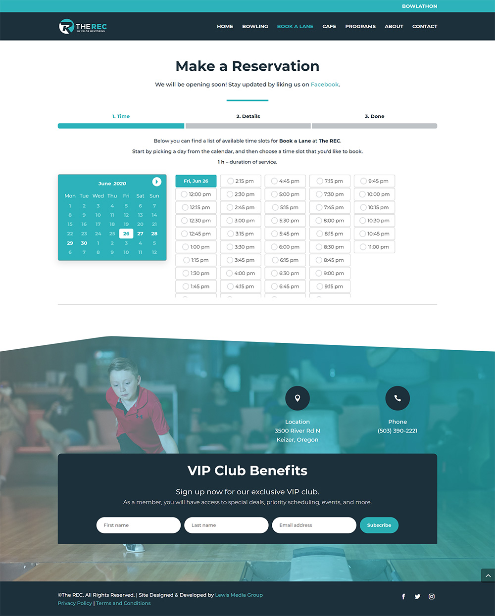 The REC Booking page after redesign (formerly Town and Country Lanes)