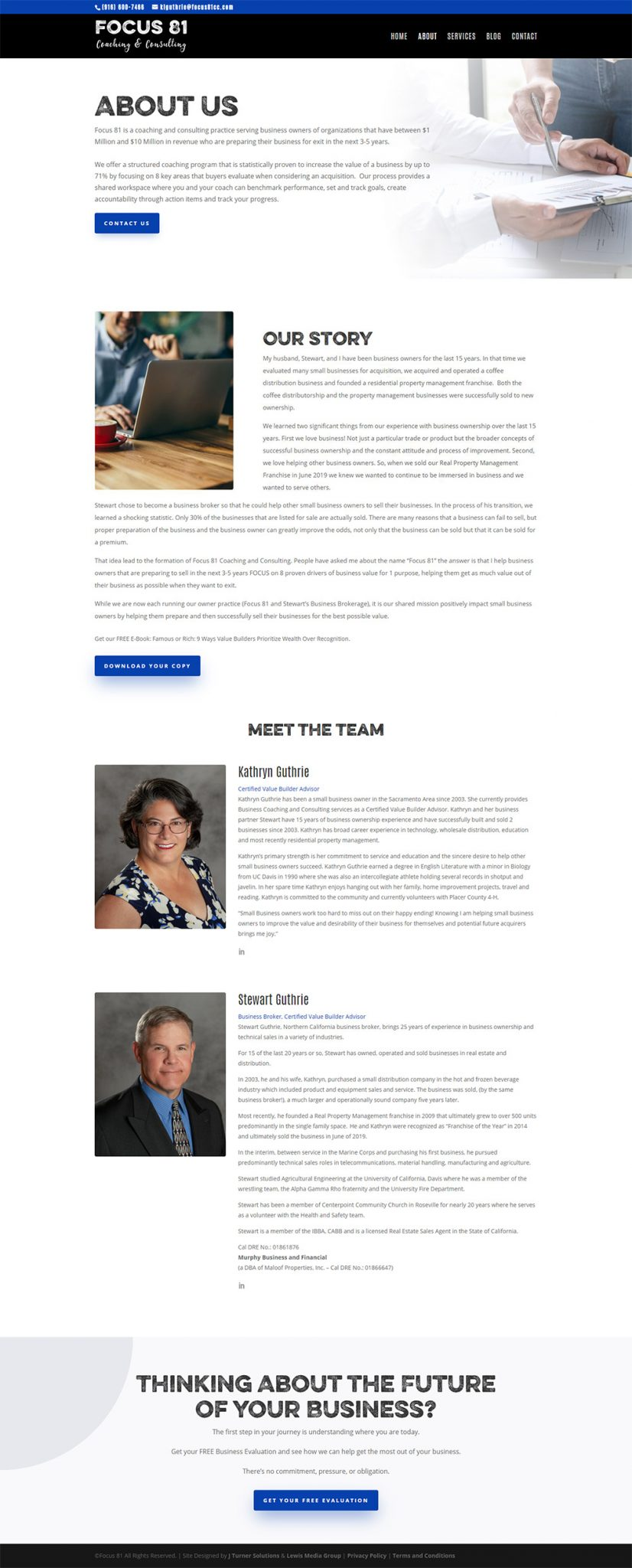 Focus 81 Consulting About page after redesign