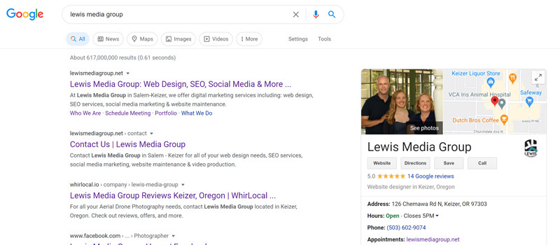 Lewis Media Group - Google My Business Listing