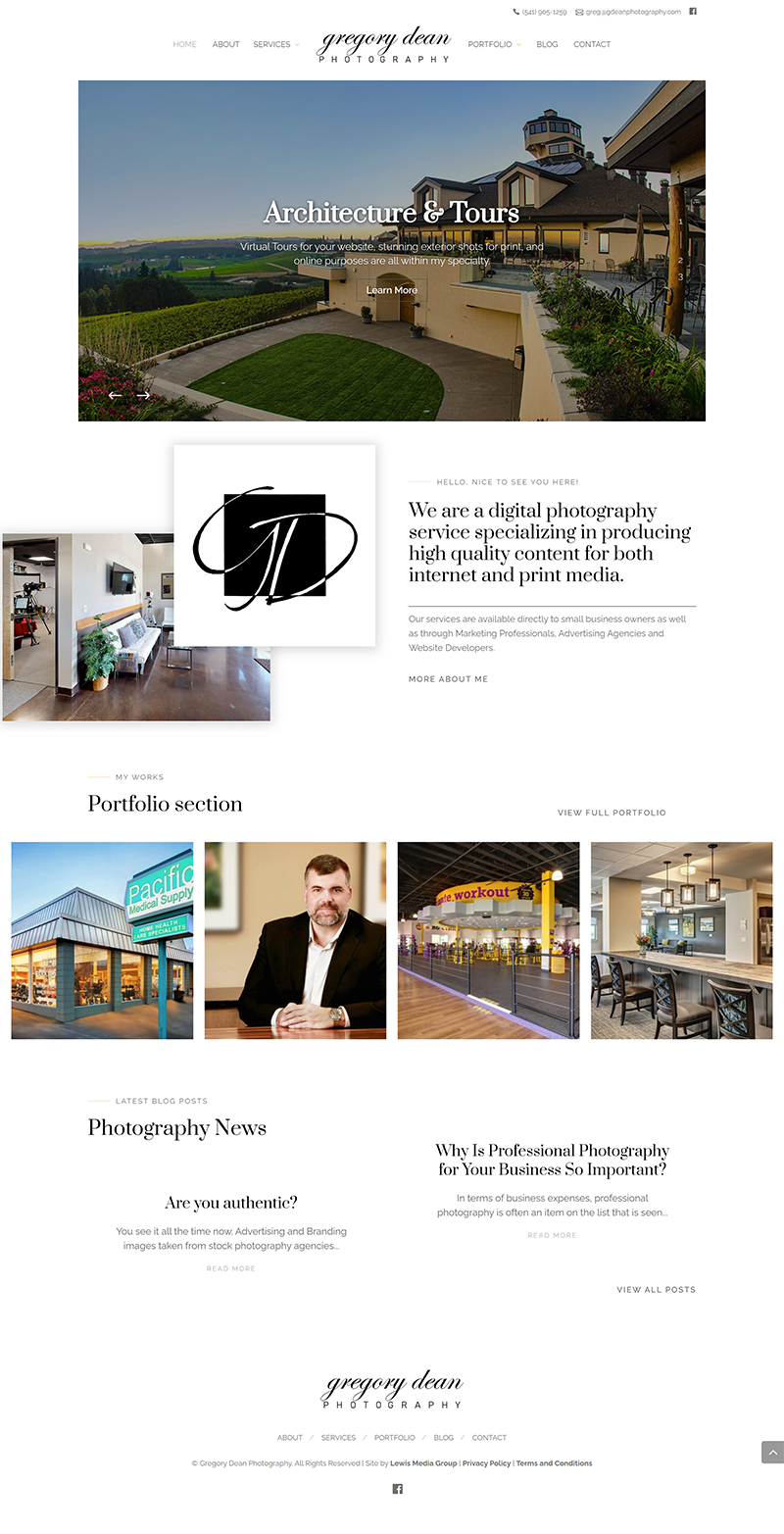 Gregory Dean Photography Home page after third redesign and current home page