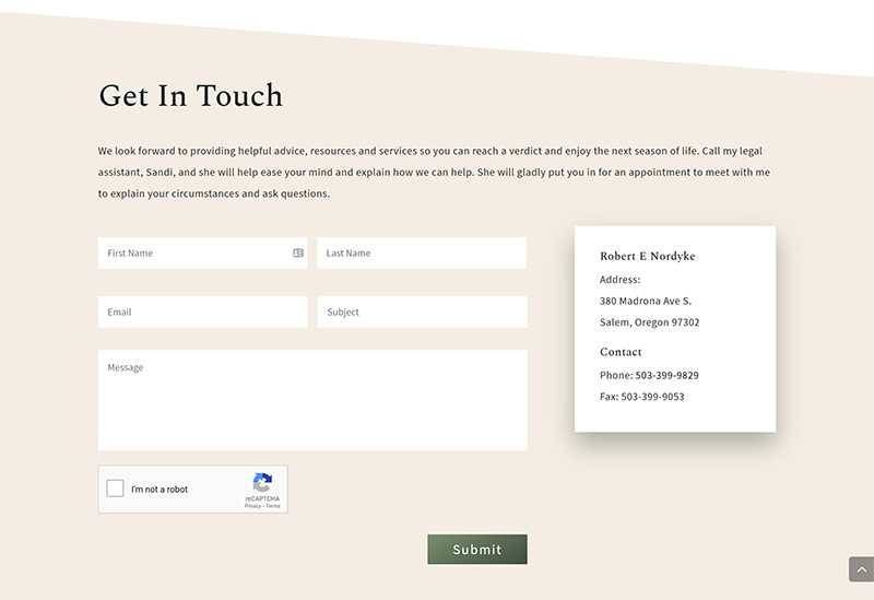 Robert E Nordyke Contact page after redesign