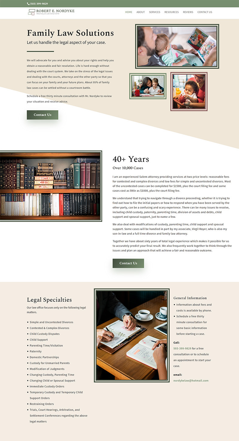Robert E Nordyke Home page about andlegal specialties portions after redesign