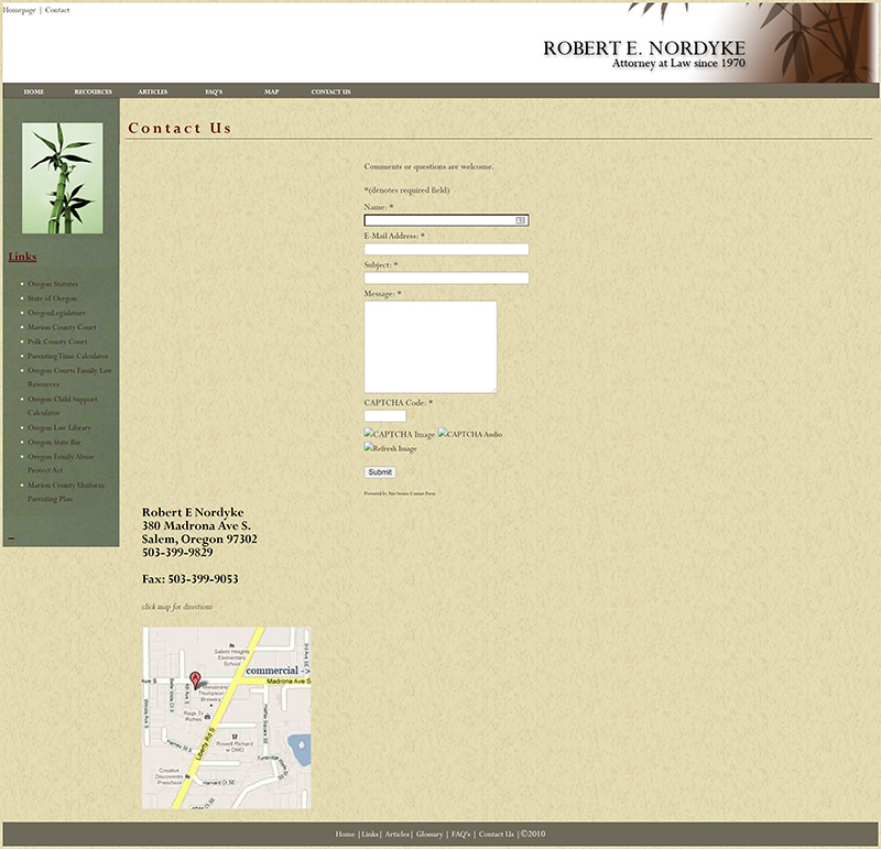 Robert E Nordyke Contact page before redesign