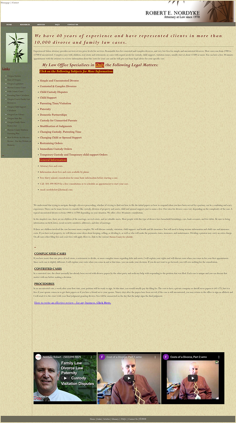 Robert E Nordyke Home page before redesign