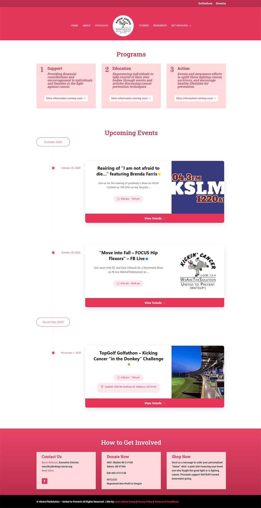 Kickin Cancer Events pg after Redesign
