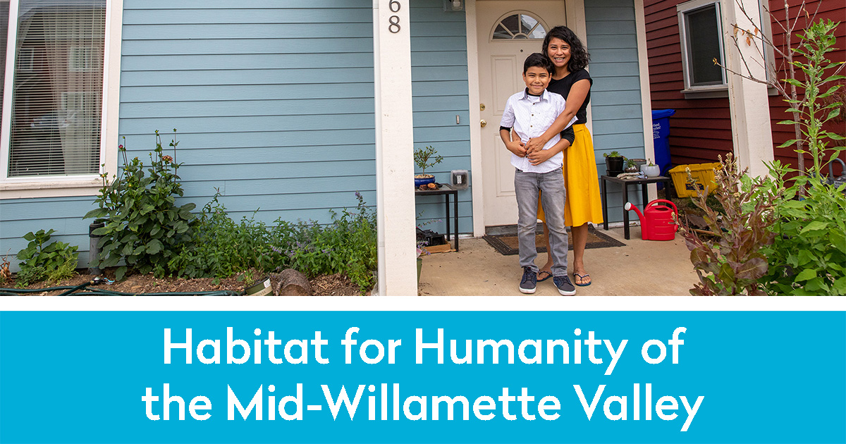 Habitat for Humanity of the Mid-Valley Willamette and a Mom and her son on their new porch