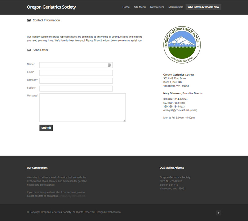 Oregon Geriatric Society Contact page before redesign