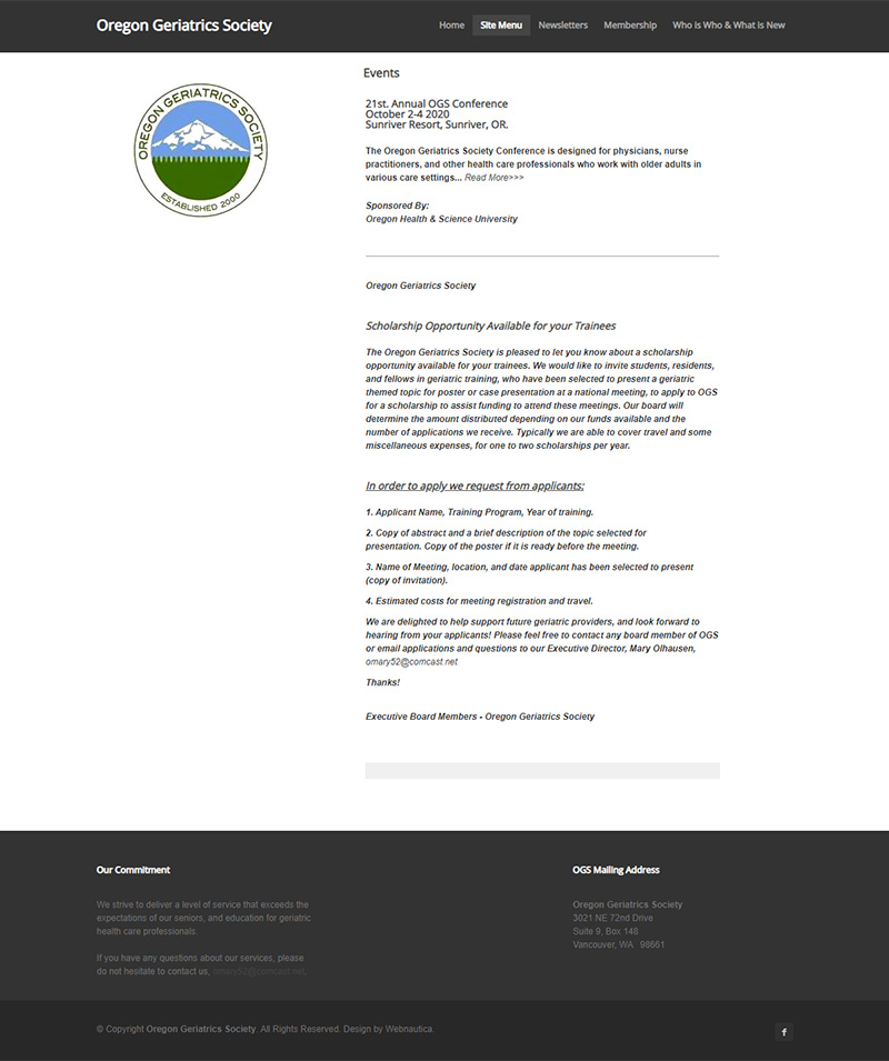 Oregon Geriatric Society Upcoming Events page before redesign