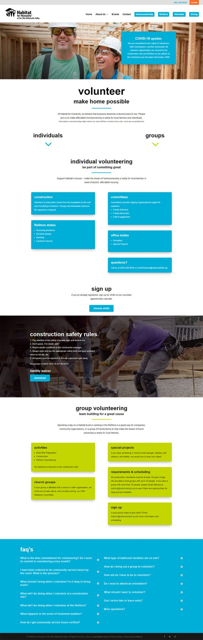 Habitat for Humanity of the Mid-Willamette Valley Volunteer page after redesign