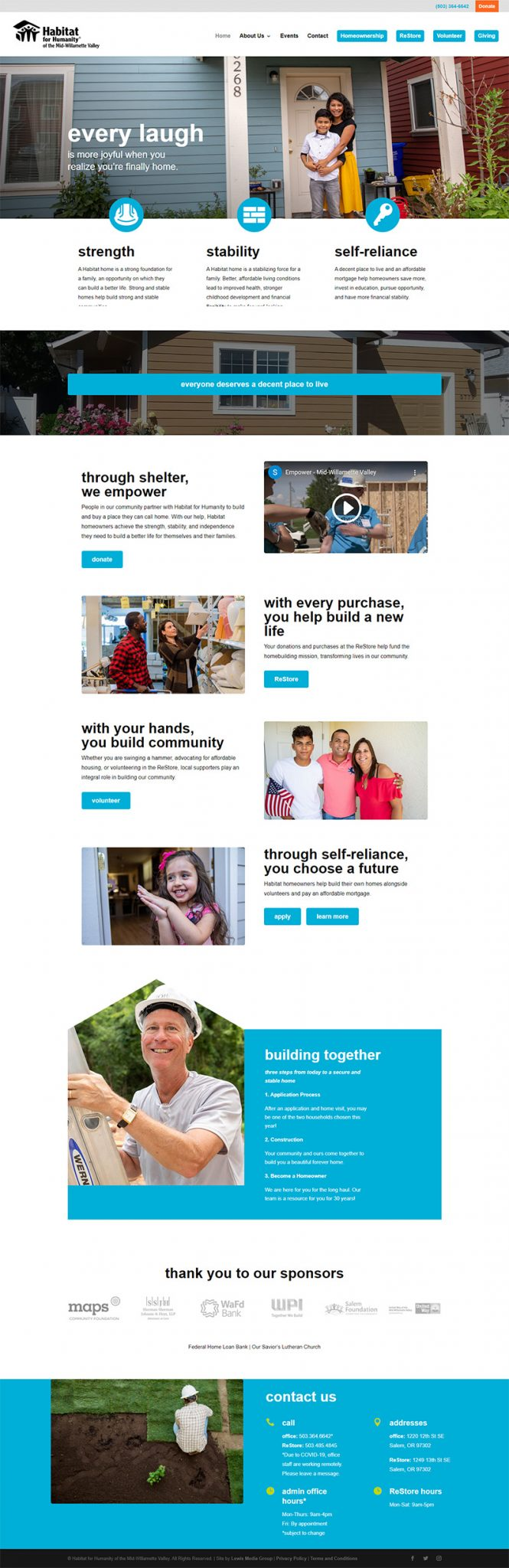 Habitat for Humanity of the Mid-Willamette Valley Home page after redesign