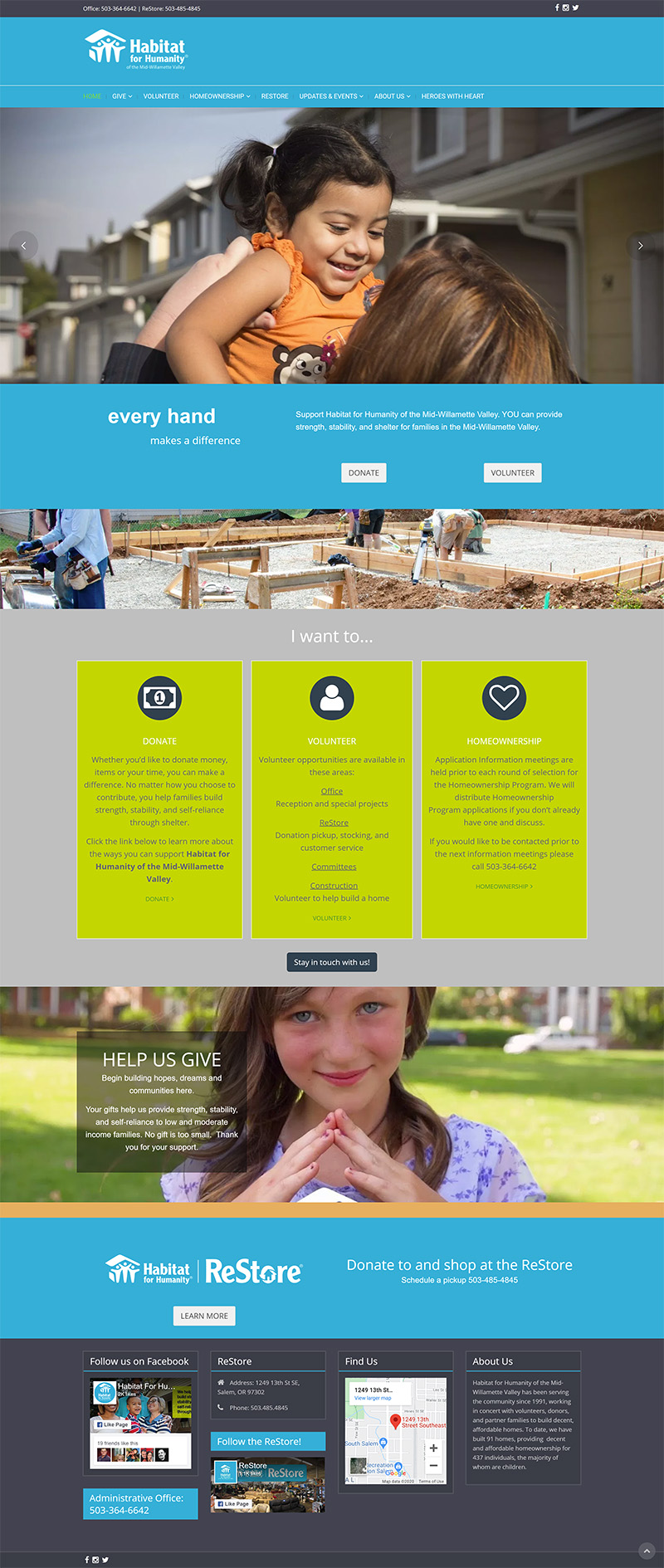 Habitat for Humanity of the Mid-Willamette Valley Home page before redesign