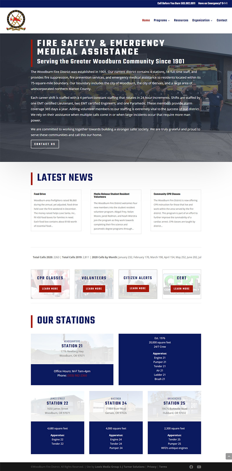 Woodburn Fire District Home page after redesign