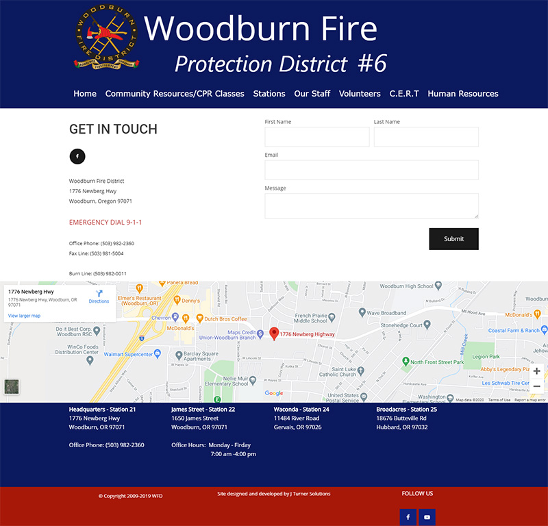 Woodburn Fire District Contact page before redesign