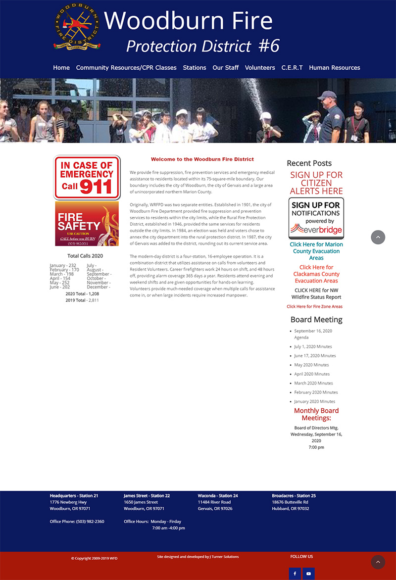Woodburn Fire District Home page before redesign