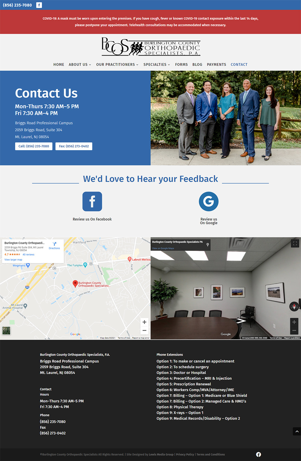 Burlington County Orthopaedic Specialists Contact page after redesign