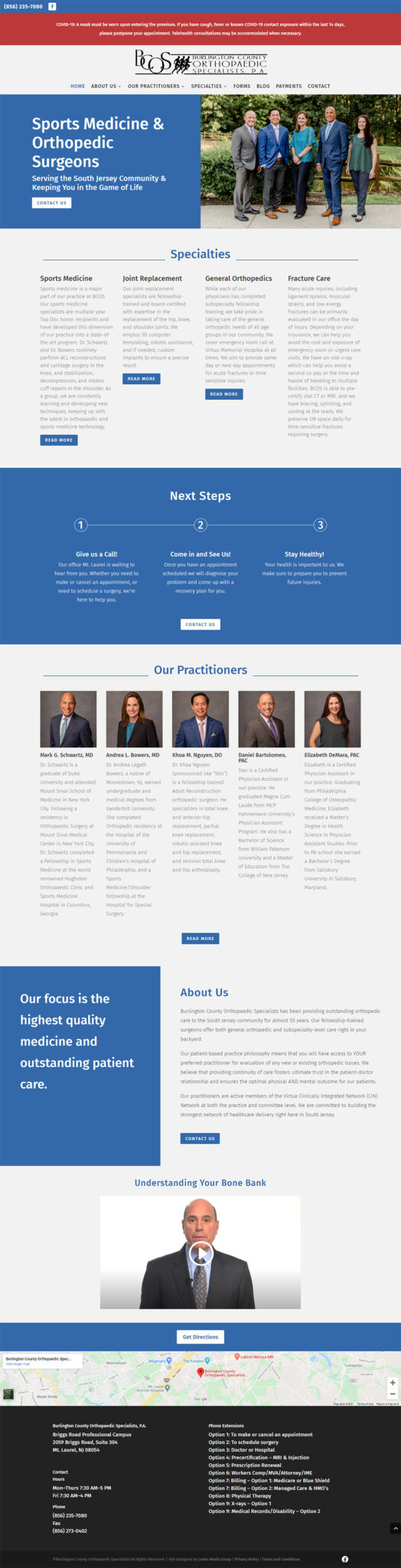 Burlington County Orthopaedic Specialists Home page after redesign