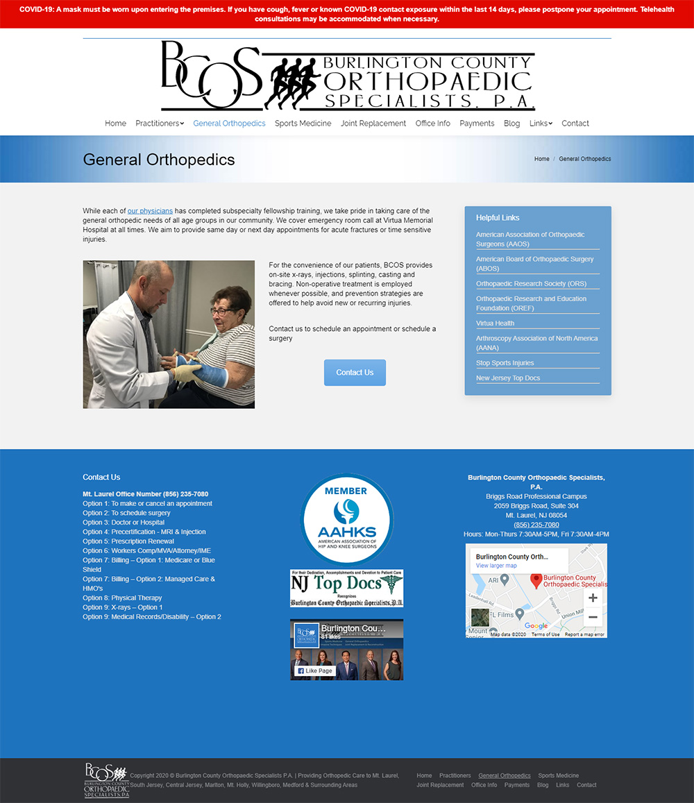 Burlington County Orthopaedic Specialists General Orthopedic page before redesign