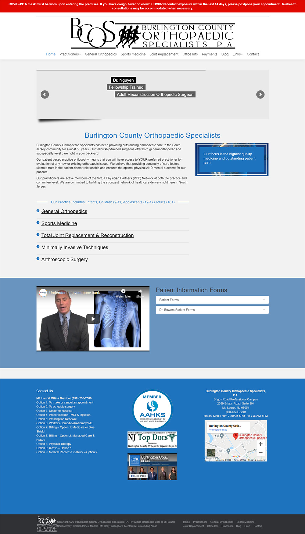 Burlington County Orthopaedic Specialists Home page before redesign