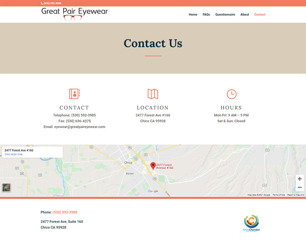 Great Pair Eyewear Contact page after redesign