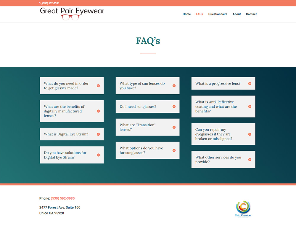 Great Pair Eyewear FAQ page after redesign