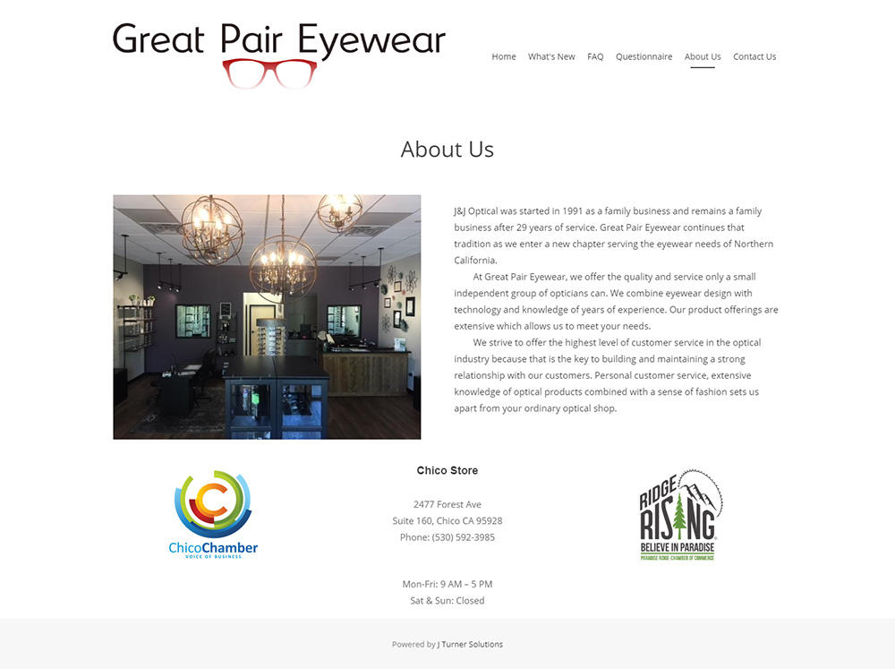 Great Pair Eyewear About page before redesign