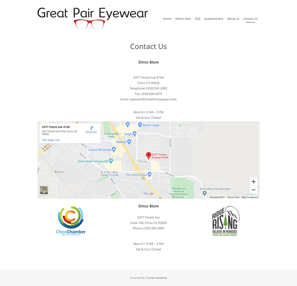 Great Pair Eyewear Contact page before redesign