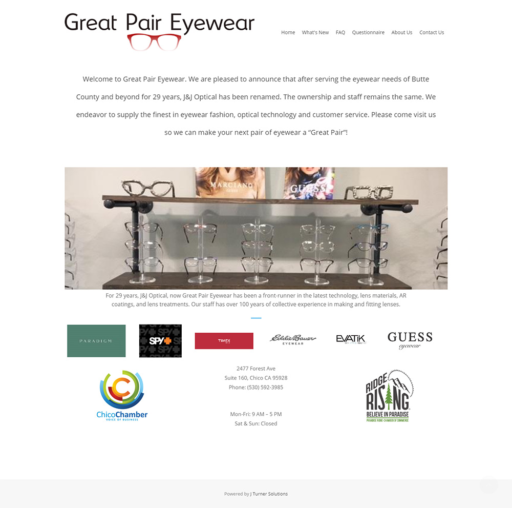 Great Pair Eyewear Home page before redesign