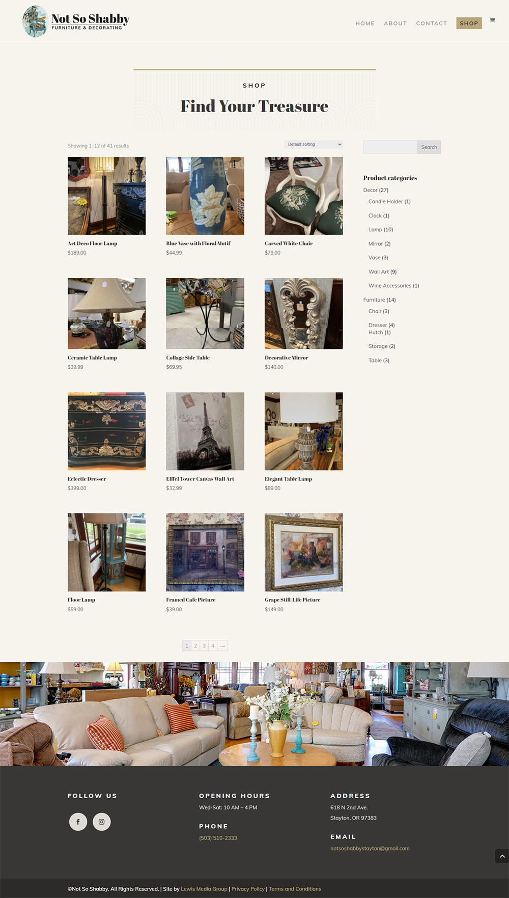 Not So Shabby's Shop page after redesign