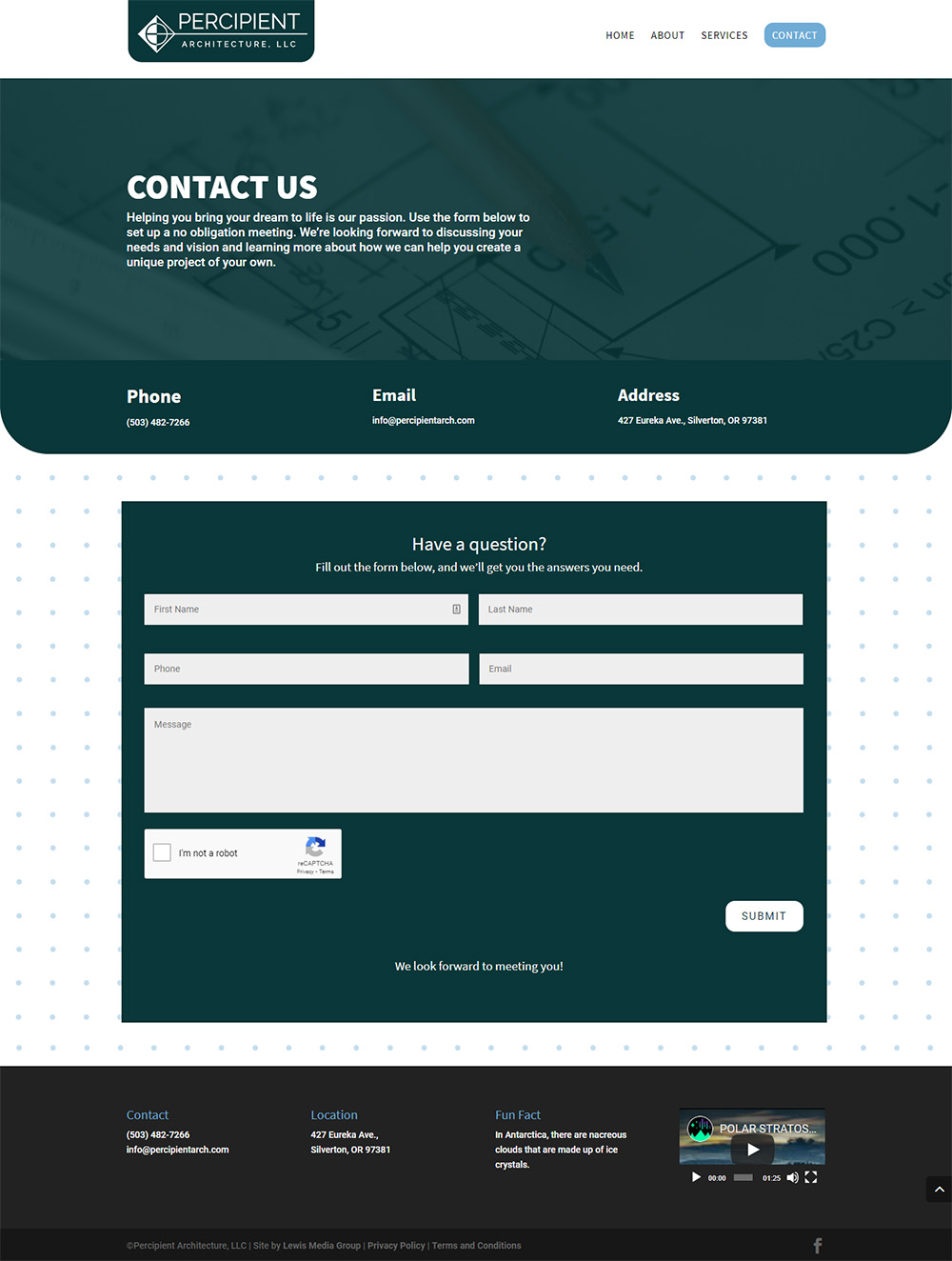 Percipient Architecture Contact page after redesign