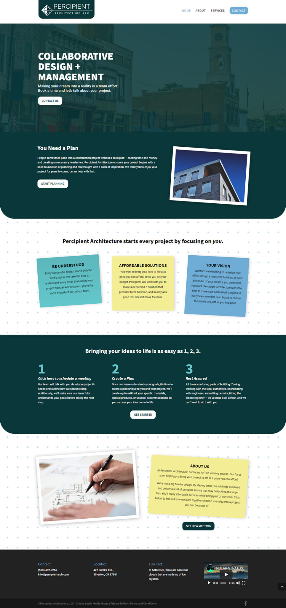 Percipient Architecture Home page after redesign