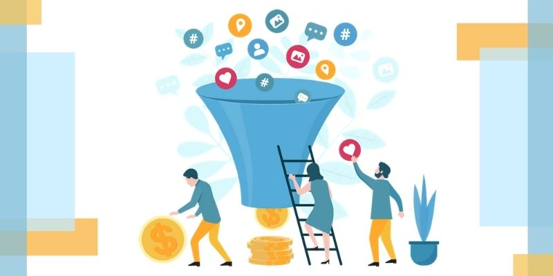 """Metaphorical workers tossing contacts from different sources into a """"sales"""" funnel"""